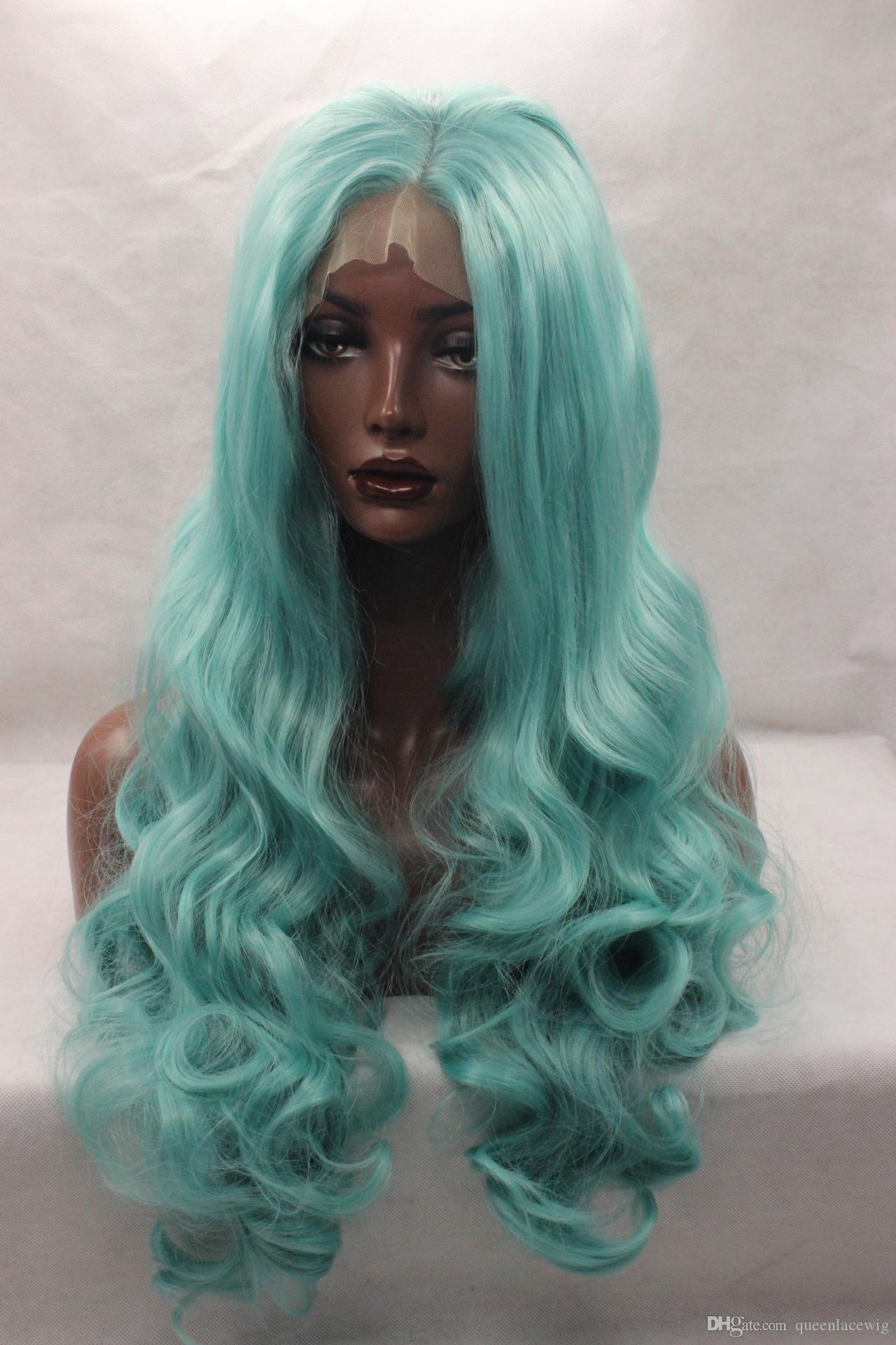 Single Color Long Wavy Light Blue Hair Synthetic Front Lace Wig