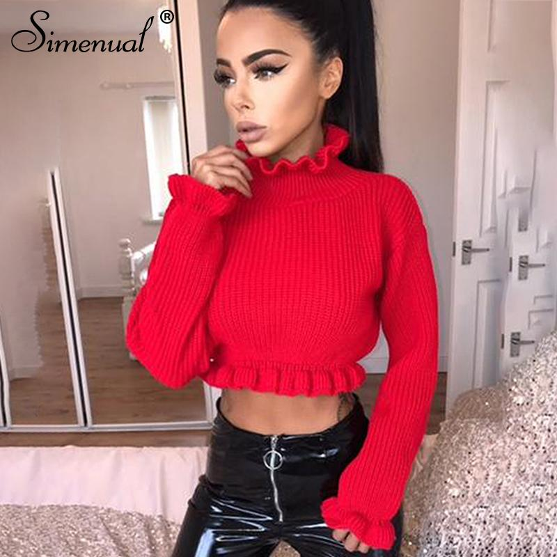 329c7c84d7 2019 Simenual Ruffles Women S Turtlenecks Sweaters Autumn Winter 2018  Knitted Clothing Fashion Sexy Crop Lady S Sweater Pullover Sale From  Zengfashion