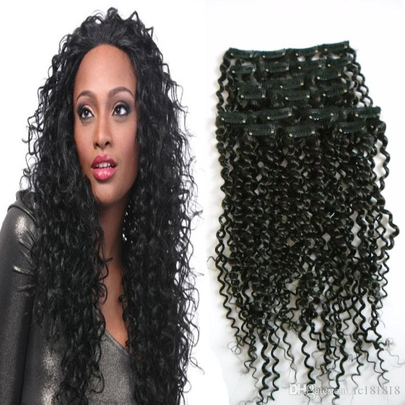Mongolian Kinky Curly Hair Extensions 100g 4a 4b 4c Clip In Hair Extensions  Natural Black Afro Kinky Curly Hair Clip Ins Full Head Bright Red Hair ... 899b78b1e
