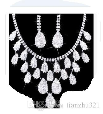 wonderful white diamond stone bride wedding jewelry set necklace earings shii;'l;'i6