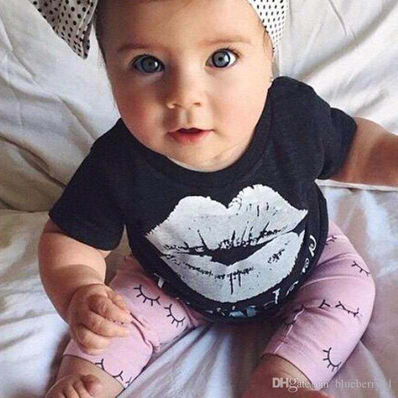 Lovely Baby Girls Short T-Shirts Black White Lip Tops Children Eyes Cute Long Pants Clothing Suits