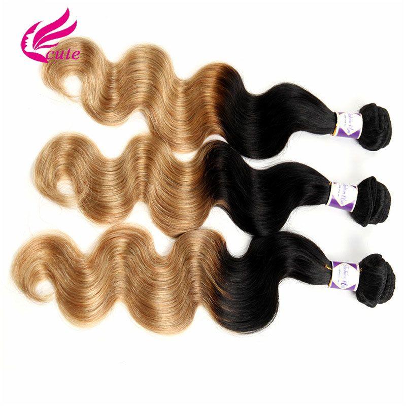 T 1B/27# Dark Root Honey Blonde Body Wave Ombre Human Hair Weave 3 Bundles 100g/Pcs Brazilian Virgin Hair Extensions 10-30 Inch