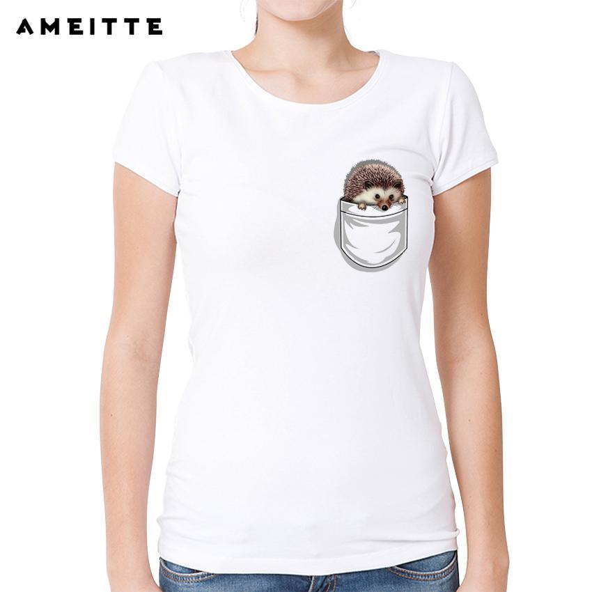 8070c83c Women's Tee Ameitte Cute Hedgehog Print T Shirt Summer Custom Pocket  Tshirts Harajuku Tees For Women White O - Neck Casual Tops