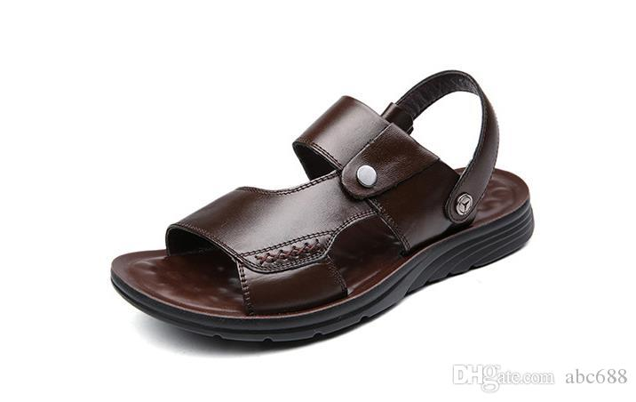 ea1c8c09e09 ... Sandalias de hombre Cuero dividido genuino Sandalias de playa Zapatos  casuales Chanclas Zapatillas de deporte Hombres ...