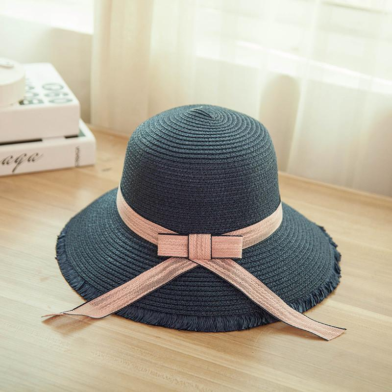 79cd57ef751 Bpckaace Hot Sale Summer Women s Cap Straw Hat Woman Beach Hat Bow Sun With  Long Strap Chapeu Feminino Tea Party Hats Rain Hat From Saucy