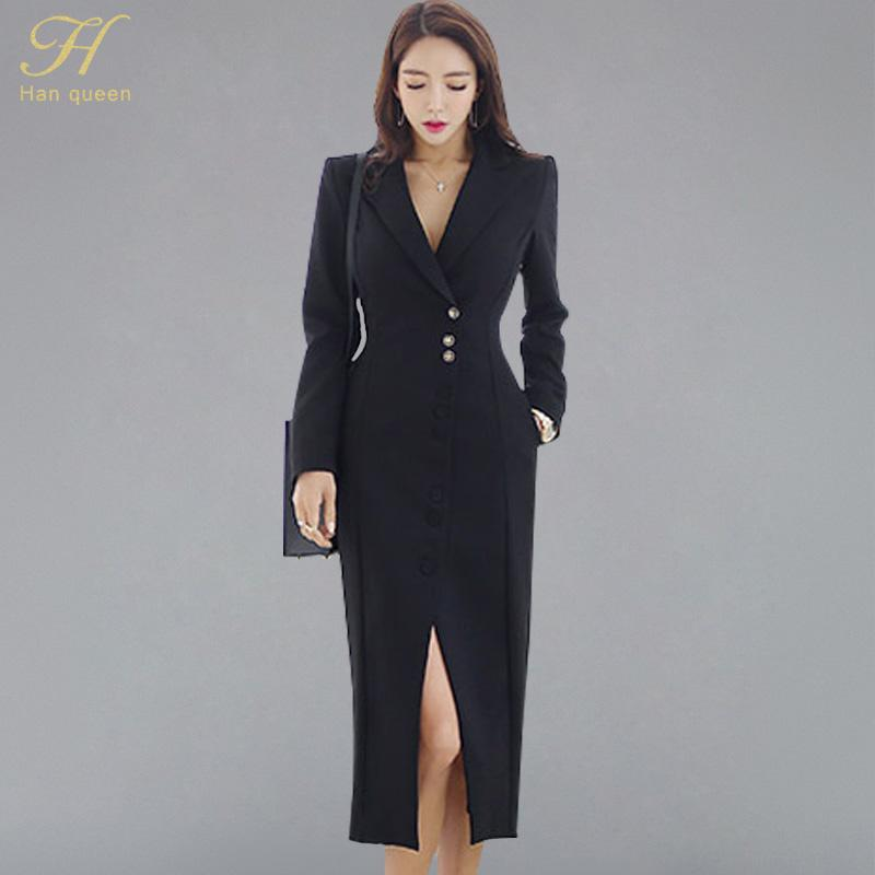54fcb5274a107 H Han Queen Wear To Work Korean Notched Neck Suits Dress Women 2018 Solid  Black Split Dresses Business Single-breasted Vestidos
