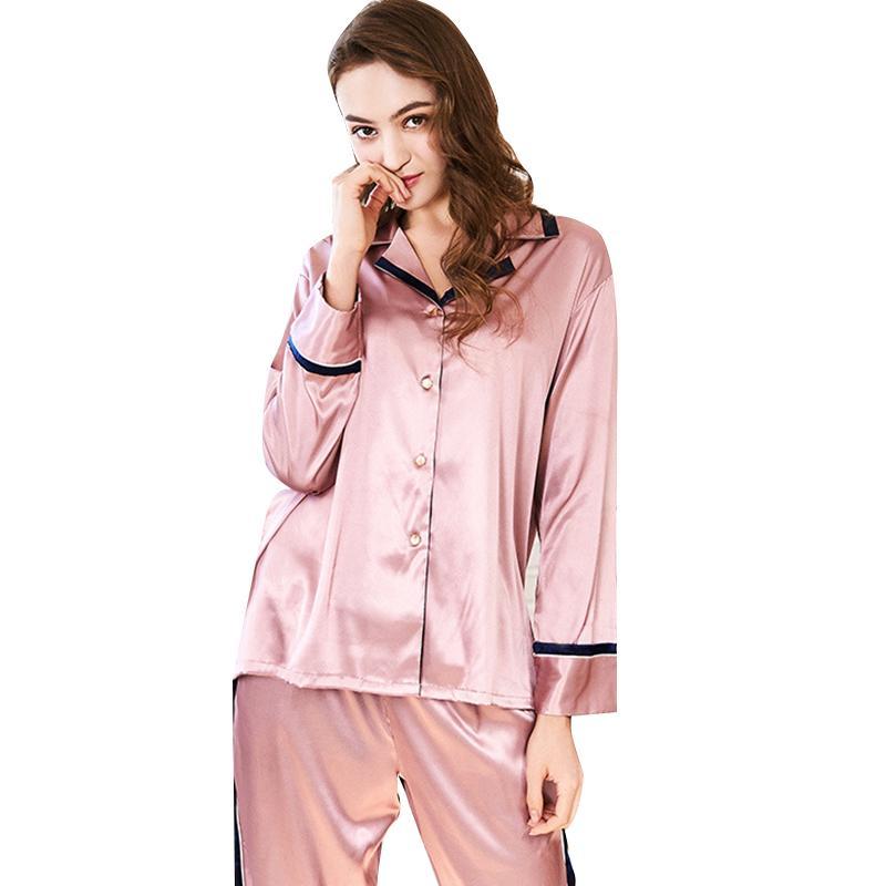 2907d0518f Compre Conjuntos De Pijamas Para Dormir Para Mujer Primavera Nueva Brida  Informal Sólido Giro Completo Abajo Collar De Cuerpo Entero Traje De Dos  Piezas ...