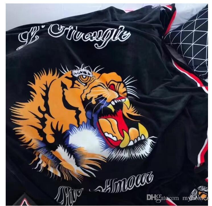 Tiger EmbroideryGoddess's Blanket Fashion Coral Fleece Carpets For Living Room Tiger Printing Sleeping Blankets For Baby 150*200