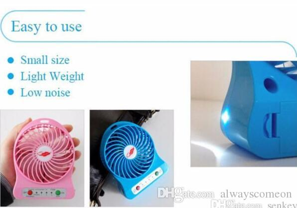 Mini ventilatore ricaricabile della batteria 18650 della scrivania USB del dispositivo di raffreddamento di fan della luce del LED ricaricabile 100% con il pacchetto al minuto vendita calda del computer portatile del PC.