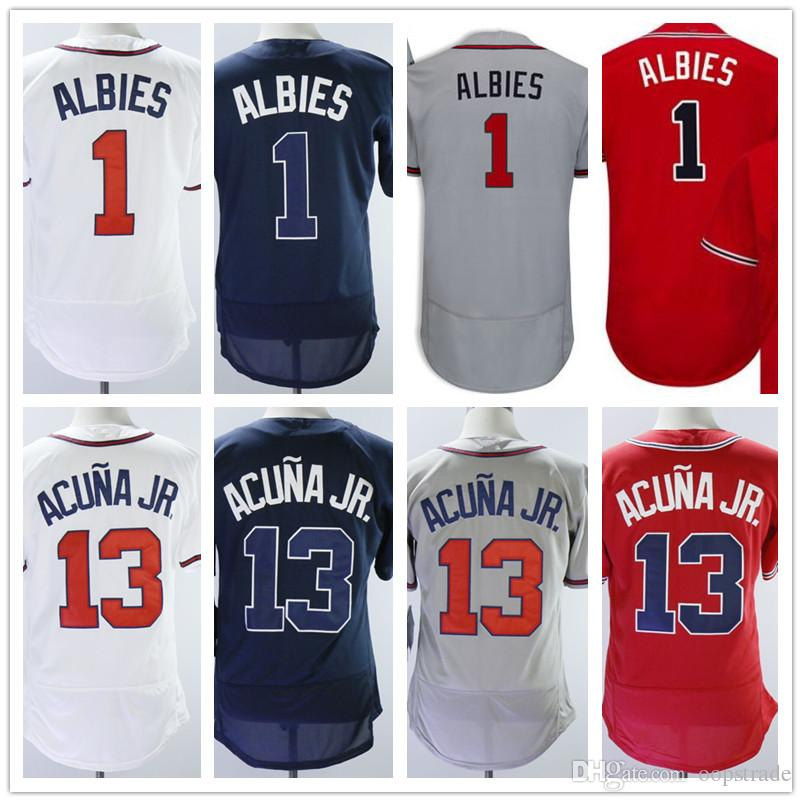 reputable site 37ca6 645be Men baseball Jerseys 1 Ozzie Albies Jersey 13 Ronald Acuna Jr. Flexbase  jersey White Red navy grey with stitching accept custom