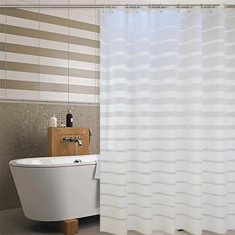 Plastic PEVA Shower Curtains White Striped Printing Screen For Home Hotel Bathroom Mold Proof Waterproof Bath Curtain With Hooks UK 2019 From Onecolor