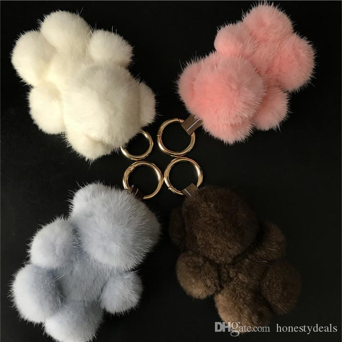 "13cm/5"" Genuine Real Fur Bear Keychain Pendent Purse Toy doll Bag Charm"