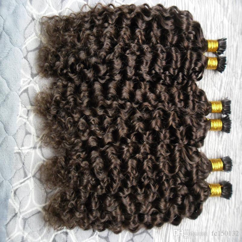 Prebonded Fusion Hair Extensions غريب مجعد 300 جرام / فروع كيراتين ستيك I Tip البرازيلي