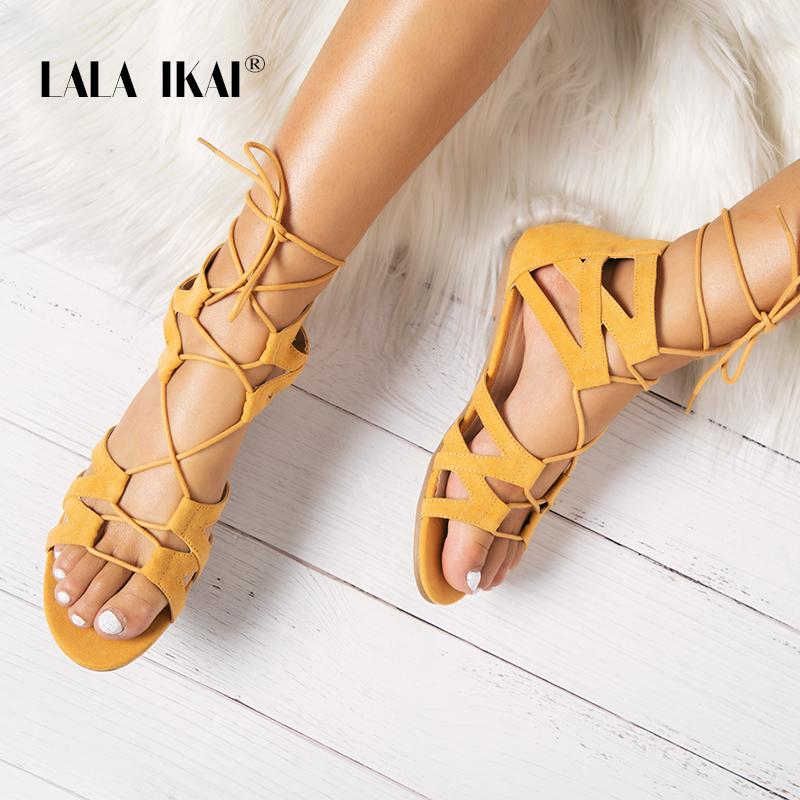 57fc921db780 LALA IKAI Flock Lace Up Flat Sandals Gladiator Open Toe Ankle Strap Lemon  Yellow Women Summer Beach Sandals 014A2246 49 Red Shoes Wedge Sandals From  Aiyin