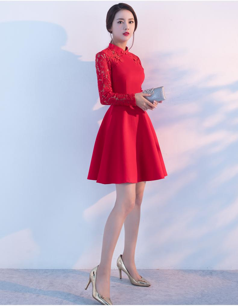Großhandel Top Fashion Stehkragen Dame Cocktailkleid Langarm Spitze  Abendkleid Ball Kleid Frauen Kurze Ballkleider Knielangen D18 Von  Spongebobtrade,