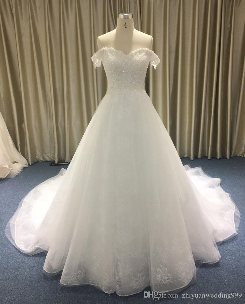 Saudi Arabia Off the Shoulders Lace Ball Gown Wedding Dresses 2018 ...