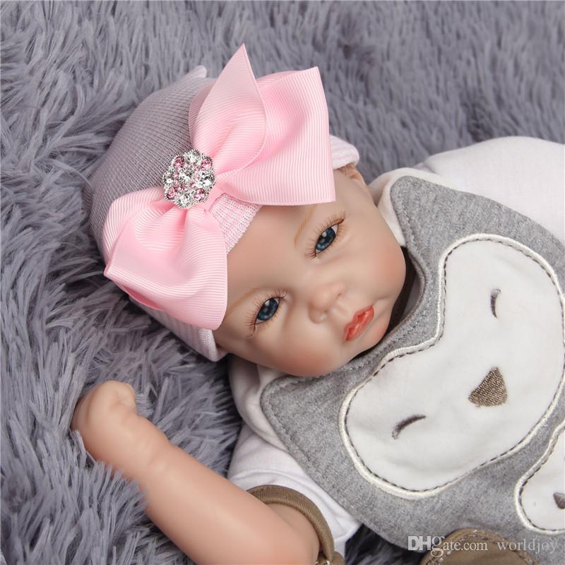 2019 0 3m Baby Crochet Bow Hats Newborn Baby Girls Nursery Beanie