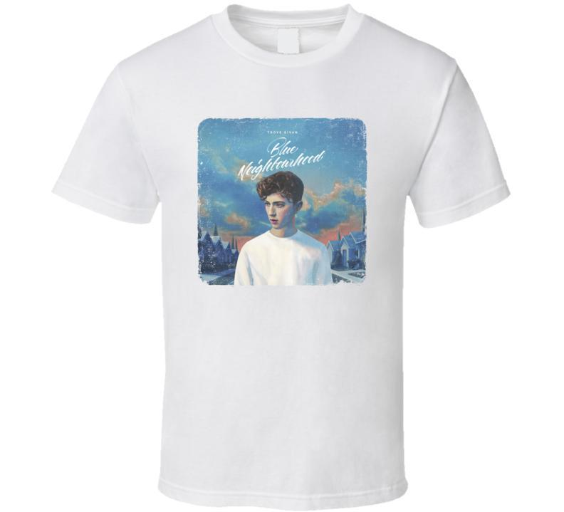 Troye Sivan Blue Neighborhood Album Cover Music Artist T-shirt da uomo Bianco
