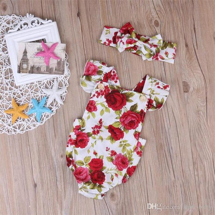 Neugeborenes Baby kleidet Sommerblumenspielanzugoverall onesies + Stirnband Kinderkleidungsboutiqueausstattungsbaby-Mädchenkleinkind 0-24M B11