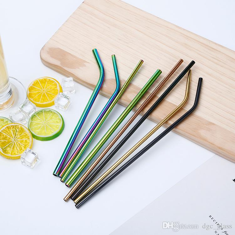 Colorful Stainless Steel Straws Reusable Straight and Bent Drinking Straws Eco Friendly Bar Drinking Tools Colored Metal Pipette CMP01-04