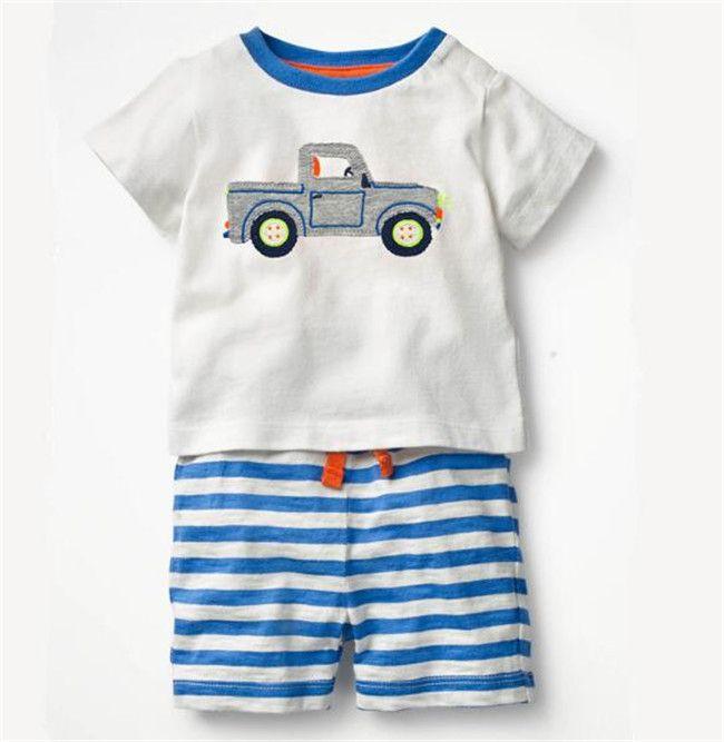 Children baby boy suit Cartoon embroidery dinosaur short sleeve t-shirt shorts boys 100% cotton suit D19