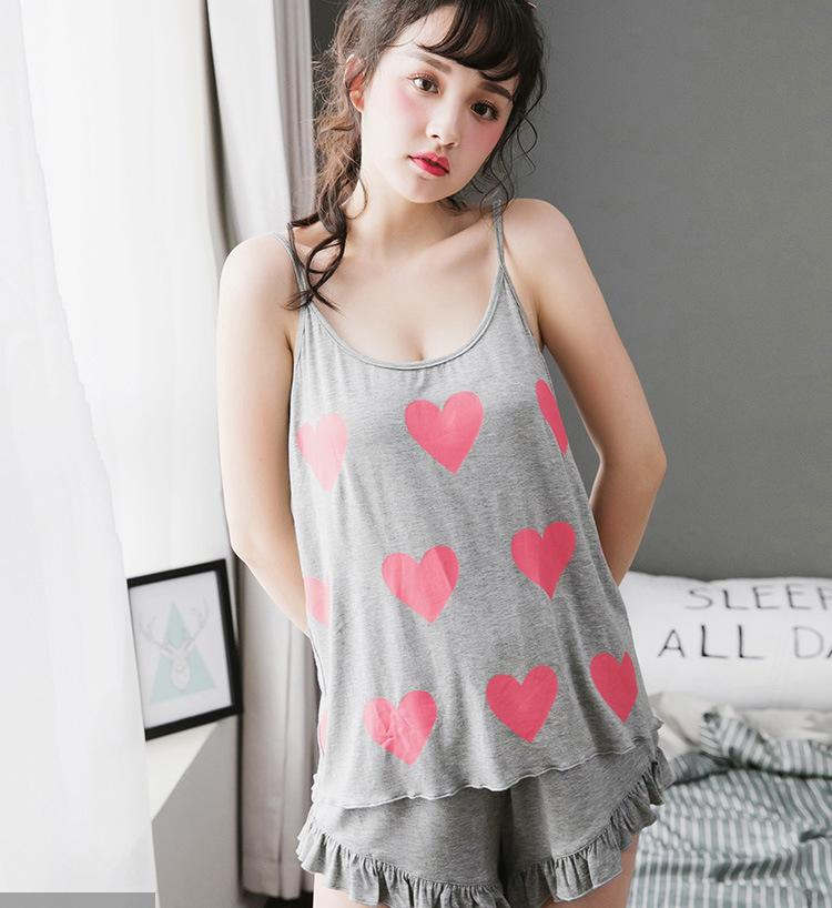 399dd18ca9 2019 2018 NEW Summer Soft Bamboo Fiber Suspenders Hot Pants Pajamas  Japanese Female Peach Heart Print Home Sleepwear From Candycloth