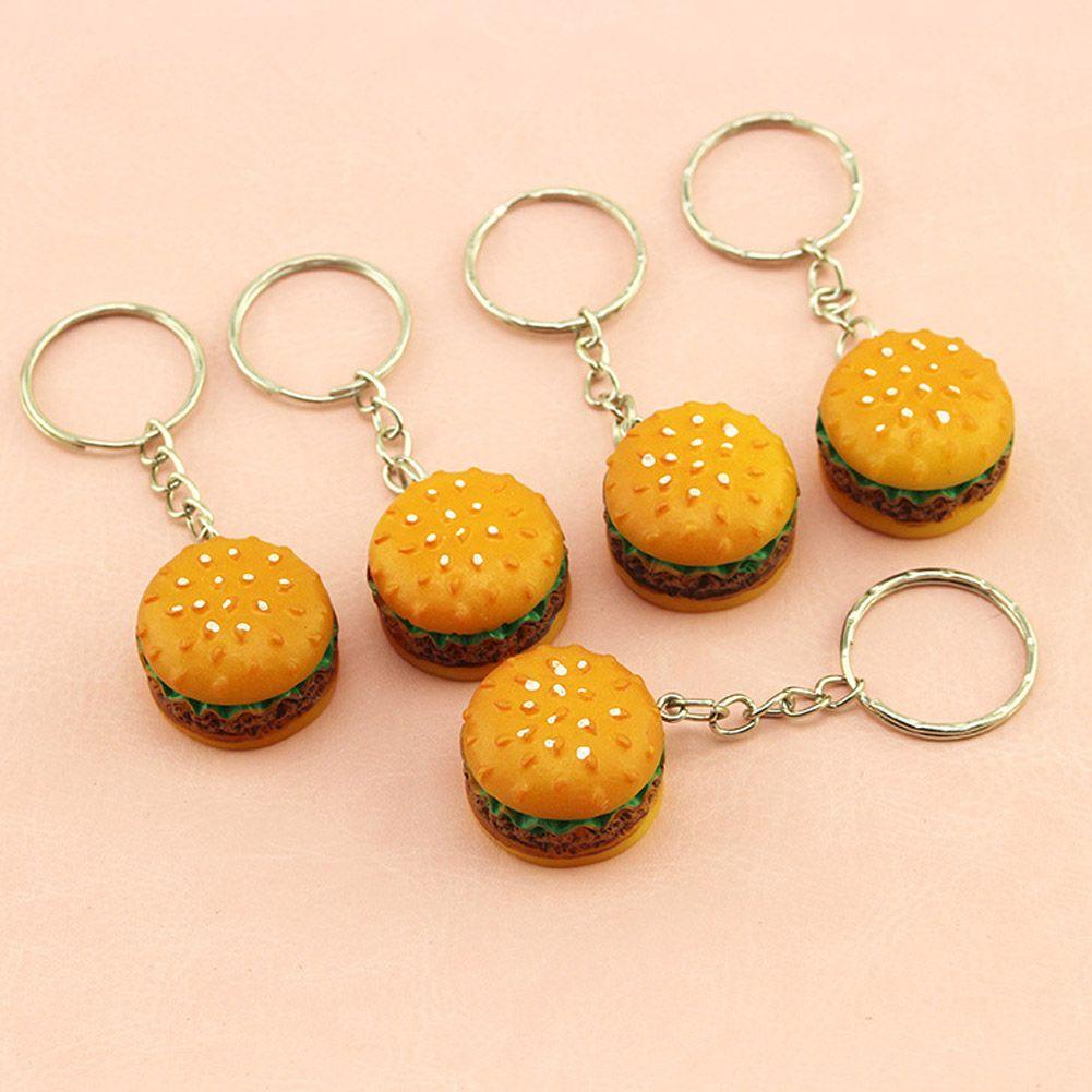 Jewelry Sets & More Jewelry & Accessories Cute Hamburger Keychain Simulation Food Hamburger Pendant Key Ring Novelty Christmas Birthday Gift