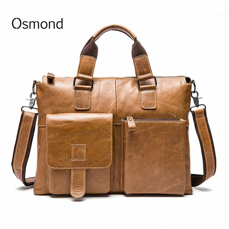 Business Men Briefcases Genuine Leather Handbag Vintage Laptop Briefcase  Messenger Shoulder Bags Men S Tote Bag Document Case Satchel Messenger Bags  From ... 8fc8e6a4d67ff