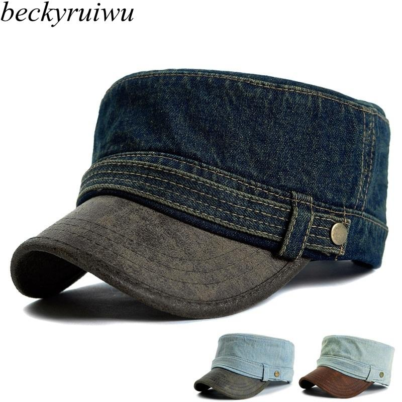 Adult Top Quality Denim Wash Flat Army Hats Women And Men PU Leather Peak  Peaked Baseball Caps Cheap Snapback Hats Hats Online From Zeipt c4b4adcf8e8