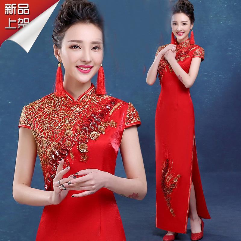 32165e52a 2019 New Red Chinese Wedding Dress Female Long Short Sleeve Cheongsam Slim  Chinese Traditional Dress Women Qipao For Wedding Party From Fitzgerald10,  ...