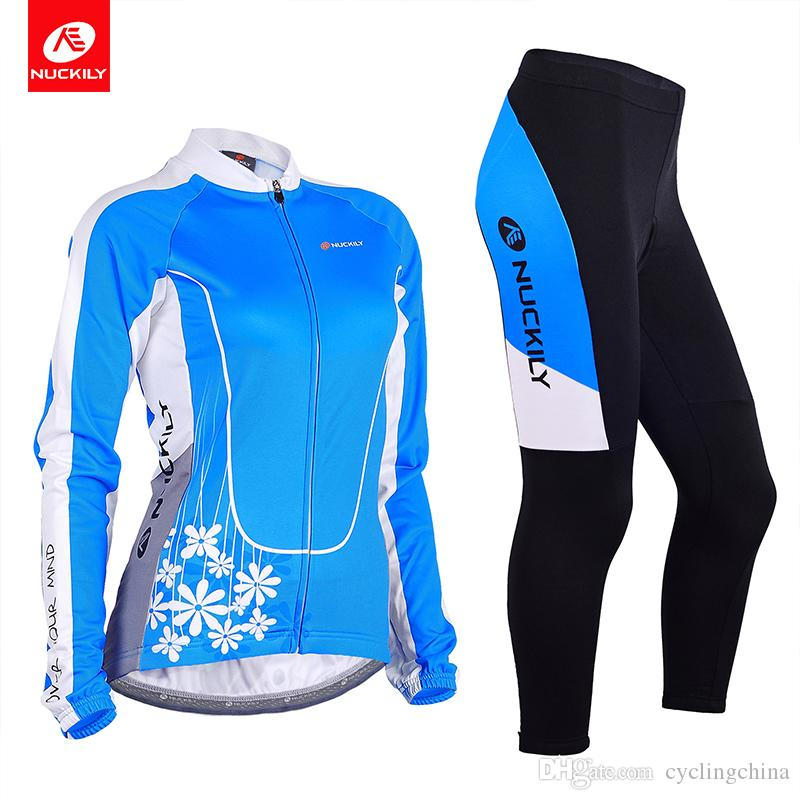 a787af688 NUCKILY Spring Autumn Women Bicycle Suit Flower Print Long Sleeve Blue  Color Cycling Jersey And Tights Set GC001GD001 Short Sets Bib Shorts Sale  From ...
