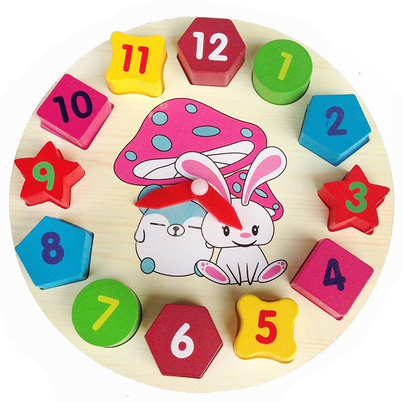 Colorful Wooden Wall Clock Puzzle Toy 12 Number Block Children Clock Child Baby Kids Educational Toy Gift