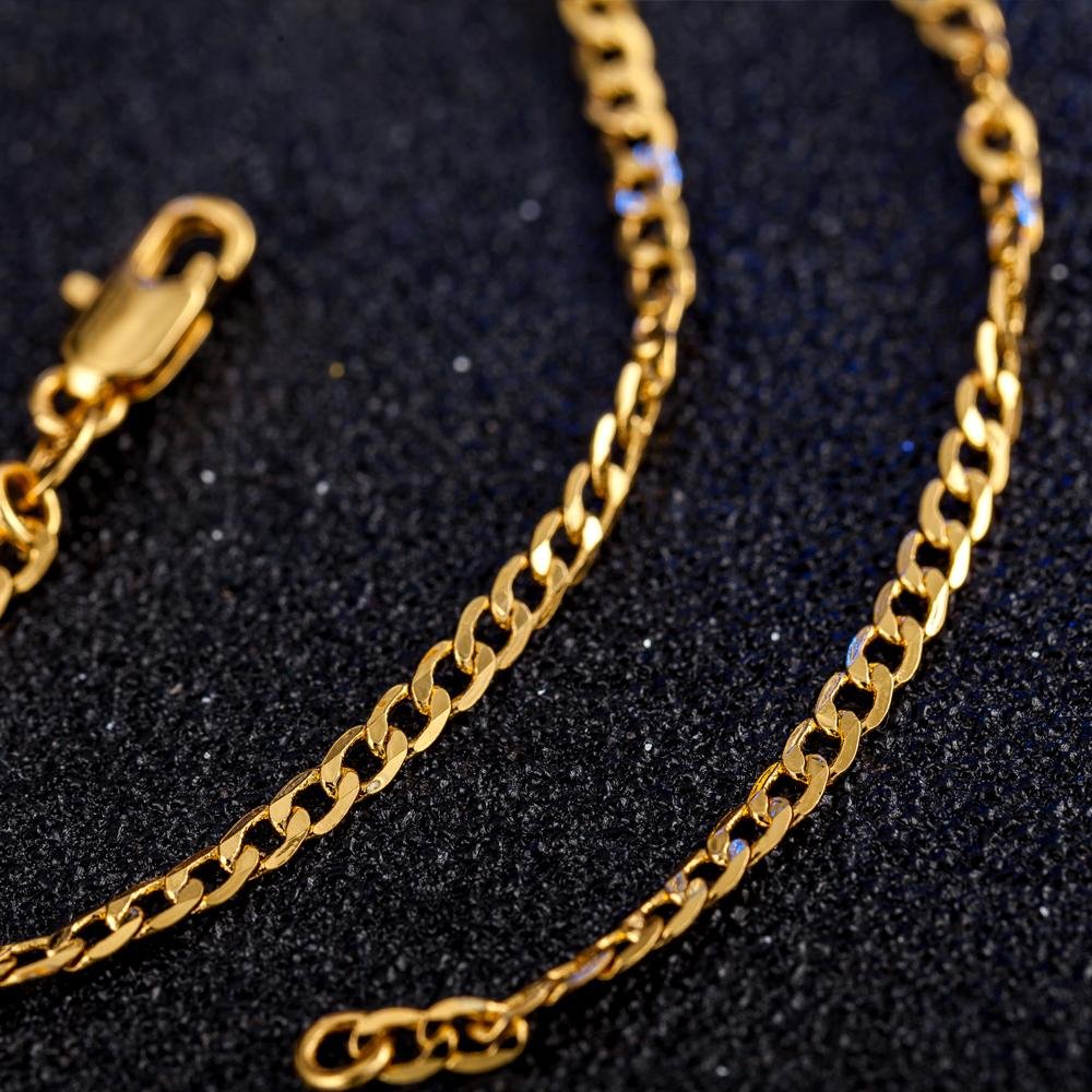 New Hot Sale! Fashion 2MM Gold Necklace Chain,2mm Jewelry gold color Curb Chain Necklace 16inch-30inch,pick length! X190