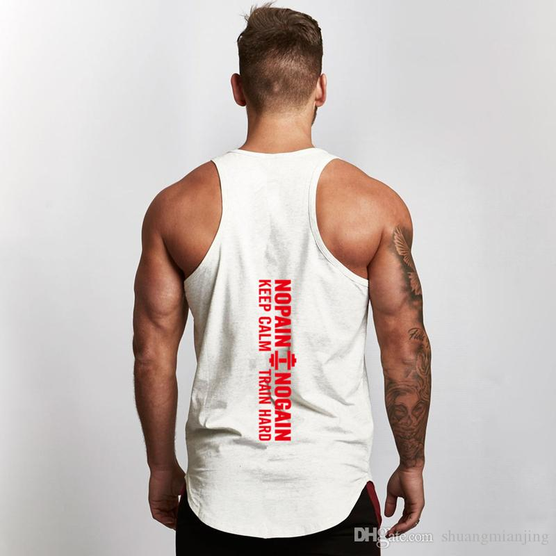 7f8afadd3bfc9 2019 New 2018 Mens Fitness Clothing Dumbbell Print Cotton Men Gym Tank Tops  Gym Tank Top Vest Stringer Bodybuilding Singlet Outdoor Sportswear From ...