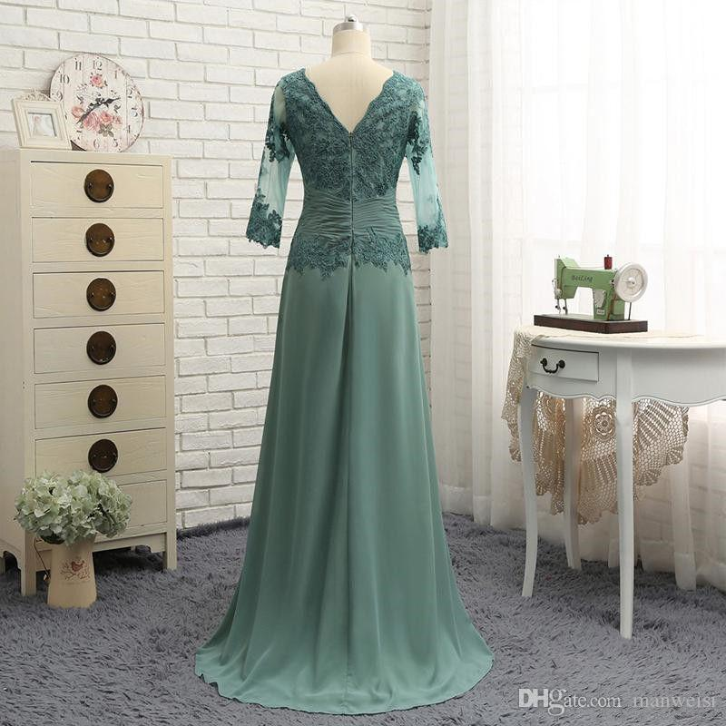 Elegant Teal Green Mother Of The Bride Dresses 3/4 Long Sleeves Lace Appliqued Women Formal Evening Wear For Wedding Plus Size