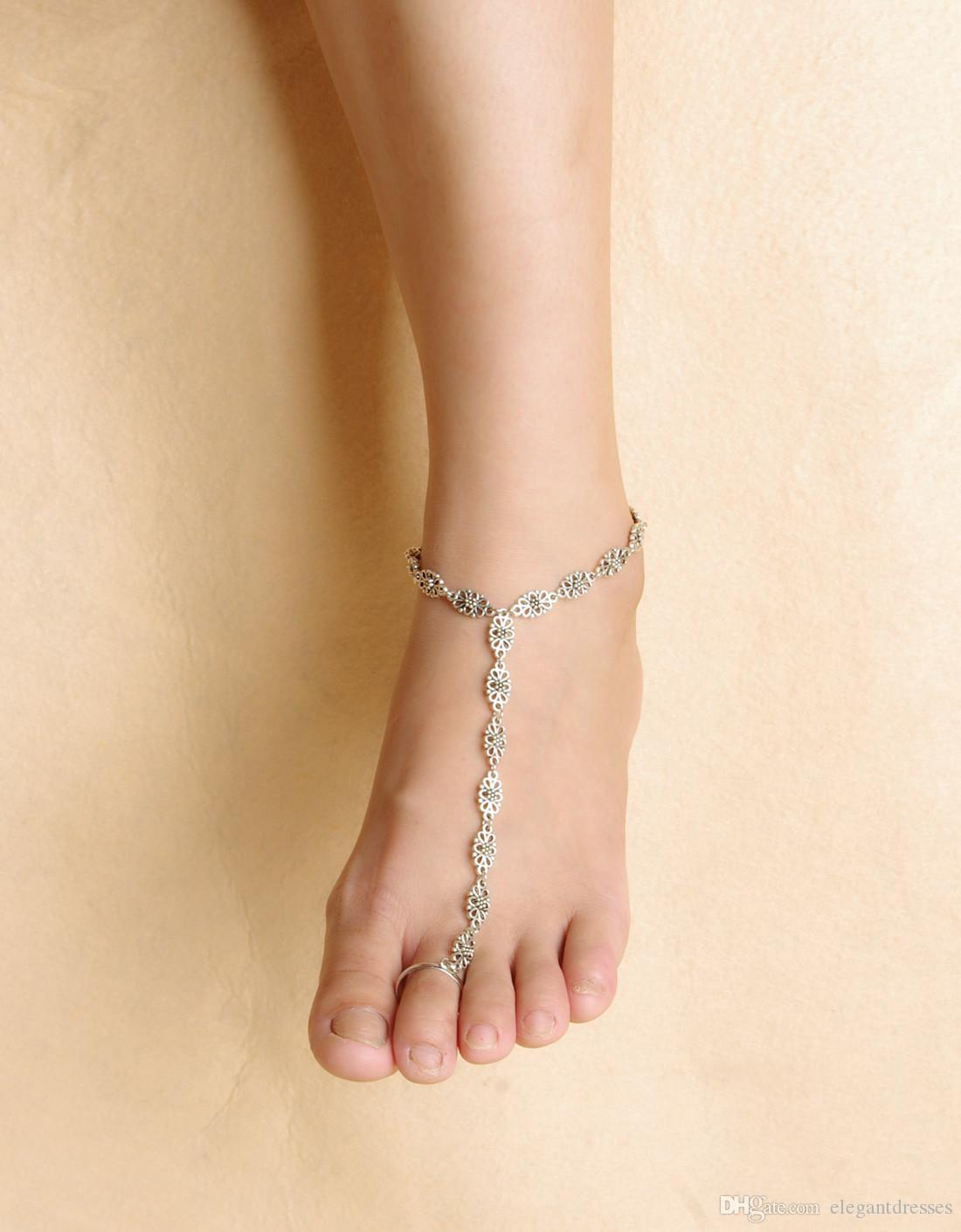 Top Sale Beach Bridal Feet Ankle Bracelet Chain Spring Vacation Sexy Leg Chain Female Crystal Anklet Foot Jewelry Chain Bridal Accessories