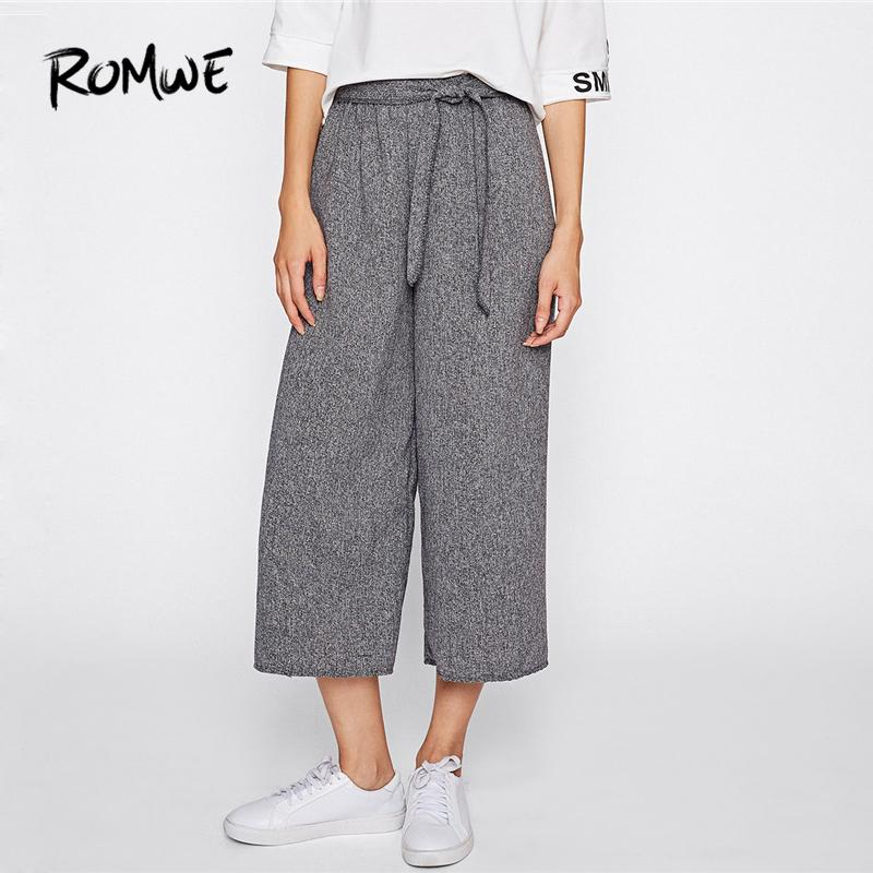 8c76770d2792f 2019 ROMWE Self Tie Wide Leg Pants Women Drawstring Belted Knot Trousers  2018 Autumn Plain Grey Mid Waist Casual Capris Female Pants From Vickay