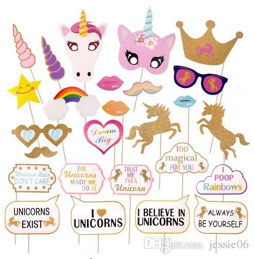 Glitter Einhorn Photo Booth Props Kit Dekoration Mädchen Geburtstag Party Supplies Spaß Hochzeit Hen Night Regenbogen Pegasus Fotografie Requisiten
