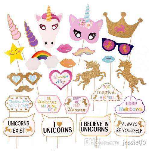Glitter Unicorn Photo Booth Props Kit Decoration Girl Birthday Party Supplies Fun Wedding Hen Night Rainbow Pegasus Photography Nemo