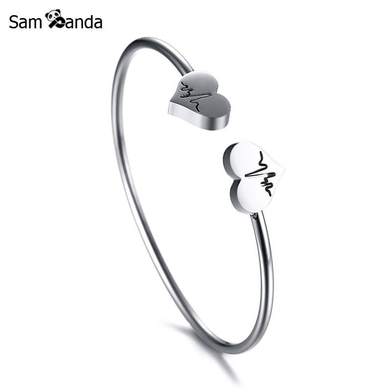 Beautiful 7g Solid Sterling Silver 15mm Thick Heart Clasp Bangle Bracelet Fine Jewelry