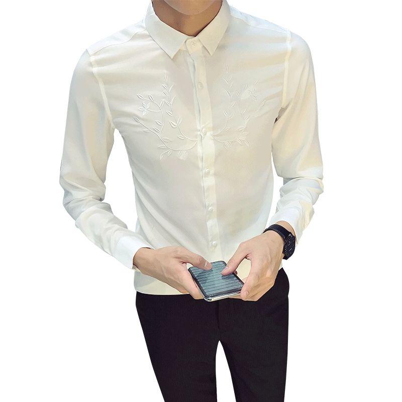 b90401425 2018 Brand Embroidery Dress Shirt Men Long Sleeve Big Size Cotton ...