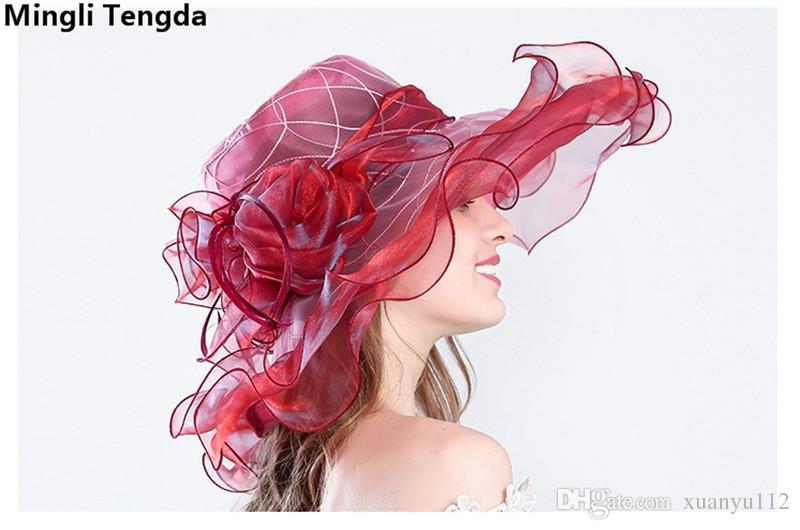 Organza Feather Wedding Hats and Fascinators Big Formal Hat for Elegant Wedding Hats for Women Bridal Hats Head Flower Chapeu Mingli Tengda