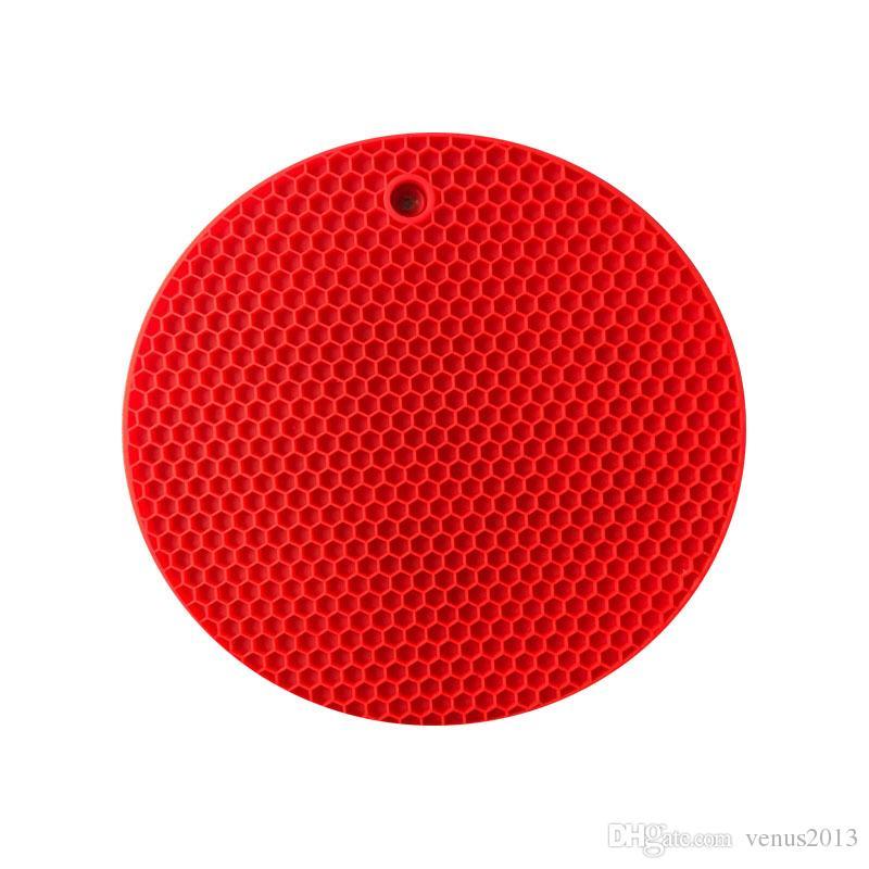 Neueste Runde Silikon Rutschfeste Hitzebeständige Topf Tischsets Halter Coaster Kissen Tischset Topf Tischset Silikon Tischset Kostenloser versand