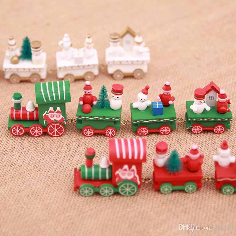 wood christmas xmas train decoration decor gift mini christmas train wooden train model vehicle toys for children festival gift christmas decorations online