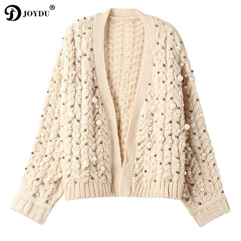 cbd8897be1bae5 Luxury Handmade Pearl Beading Thick Winter Cardigan Female 2018 New ...