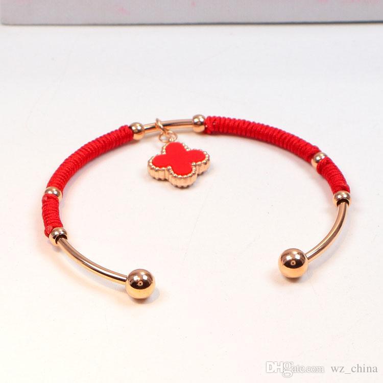 Trevo de Quatro Folhas Pulseiras para As Mulheres Pulseiras de Corda Vermelha 18KGP Rose Gold Pulseira De Aço Inoxidável Pulseira Para A Jóia Do Casamento