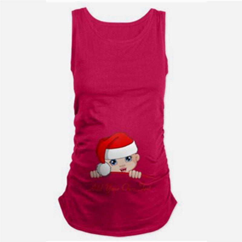 f0382fcaf Compre Verano Para Mujer Sin Mangas De Algodón Suave Lindo Bebé Embarazo  Ropa De Maternidad Camisetas De Navidad Divertido Embarazadas Camiseta  Superior Más ...