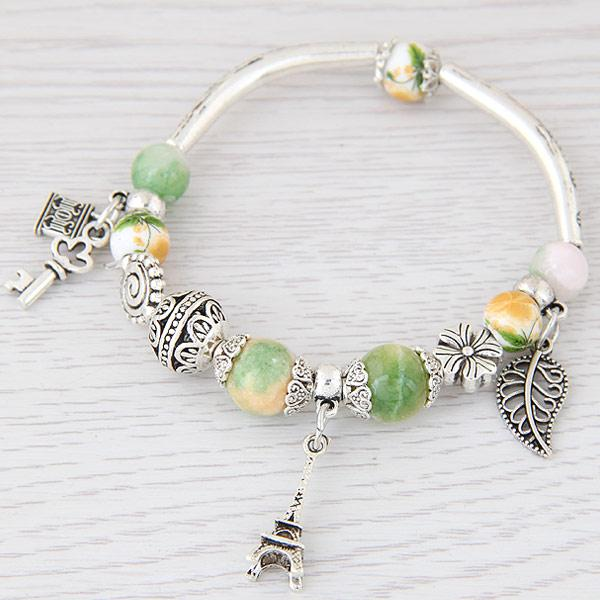 LEMOER Fashion Silver Color Paris Eiffel Tower Leaves Charm Bracelets & Bangles Crystal Murano Beads Key Lock Bracelet For Women