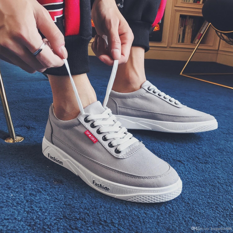 2018 heißer Verkauf neue Sommer Leder weiße Schuhe männliche koreanische Version der atmungsaktive Herrenschuhe flache untere wilde Freizeitschuhe