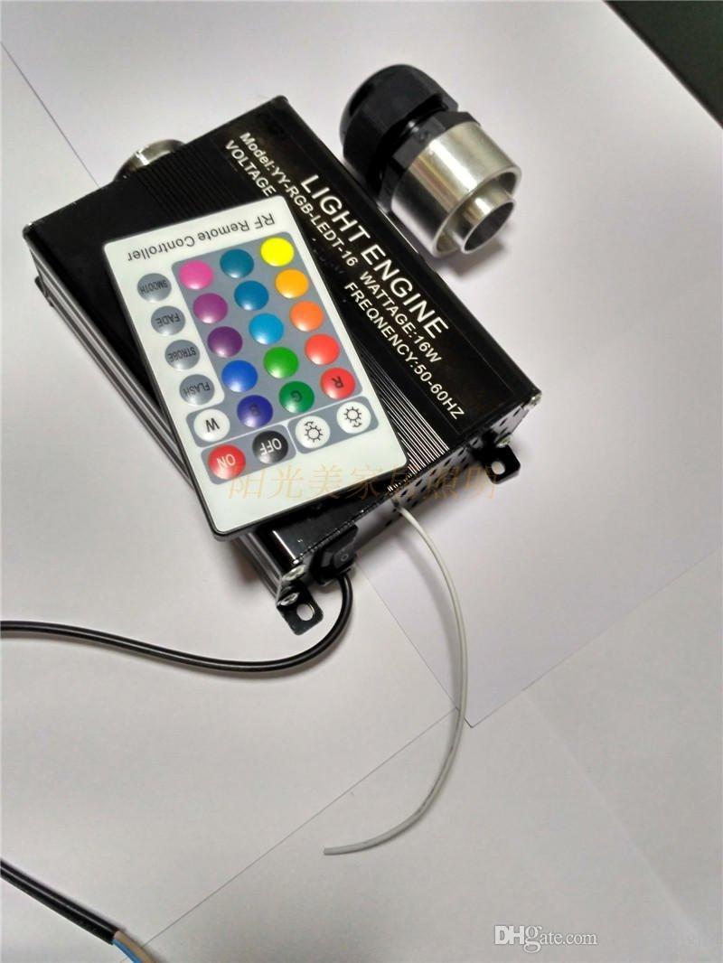 RGB colorido LED de plástico Fiber Optic Star Techo Kit de luz 0.75mm 2M + 16W RGB luces de fibra óptica Motor + 24key remoto